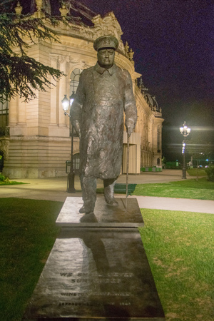 PARIS, FRANCE - JUNE 06, 2017: Statue of Winston Churchill near the Petit Palais in Paris at night. France Editorial