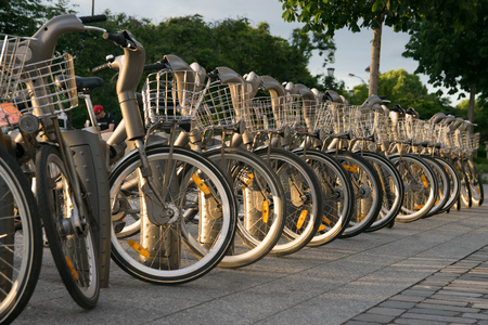 Paris, France - June 02, 2017: Velib station of public bicycle rental in Paris. Velib has the highest market penetration comapring to other cities