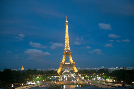 Eiffel Tower at Night in Paris, France