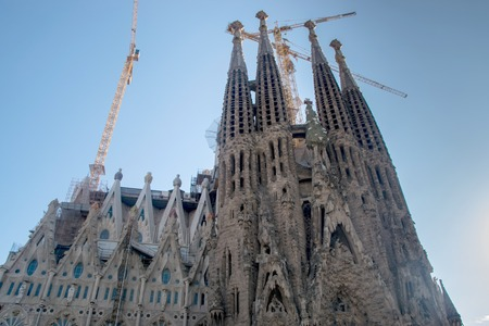 sagrada: Front view of Sagrada Familia Cathedral in Barcelona Spain