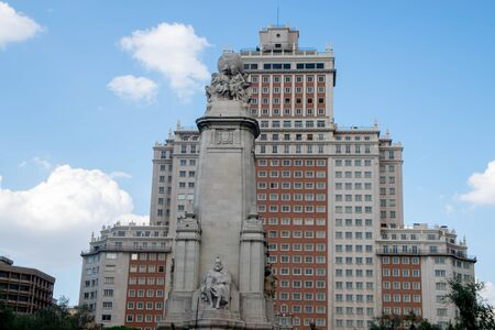 Miguel de Cervantes statue in Madrid at Spain Square Editorial