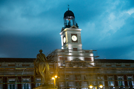 Old post office building at Puerta del Sol Square in Madrid, Spain Editorial