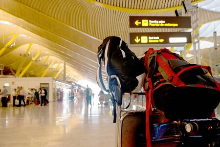 Backpacks in the airport Stock Photo