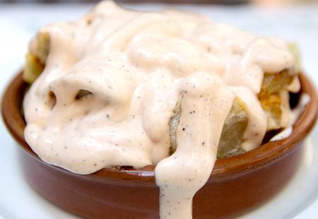 bravo: Bravas dip, Traditional Spanish baked potato with hot pepper chili sauce