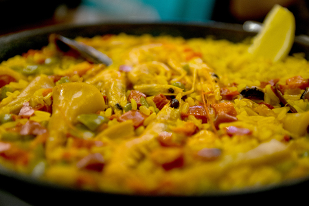 Tradition Seafood Spanish Paella in Pan, this is a typical spanish dish
