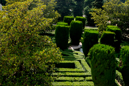 colonnade: Garden at Royal Palace in Madrid, Spain Editorial
