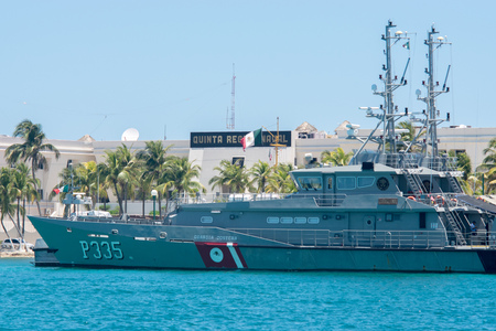 ISLA MUJERES, APRIL 19, 2018: View of P335 Mexican coastguard navy in the coast of Isla Mujeres, Mexico