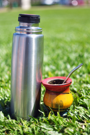 Yerba Mate Drink and Thermo ready for use outdoors Stock Photo