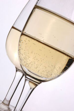 Close view of Wine Glasses Champagne on White background