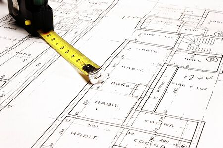 Plans and Tape Measure, Close Up