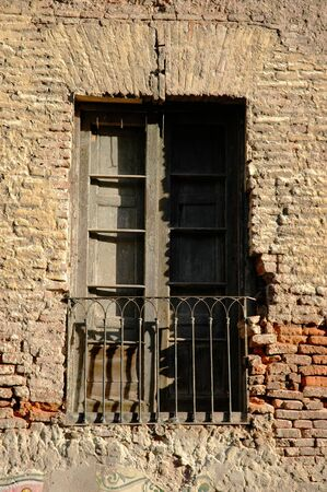 Part of old brick Facade and Window Stock Photo