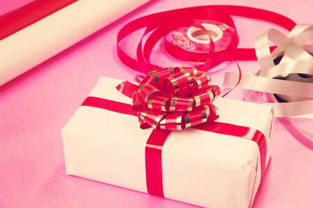 Gift box with shiny bow