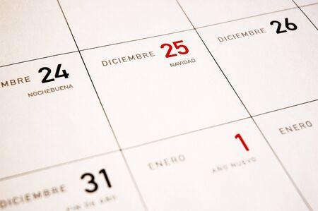 Close upf of Calendar Days, December