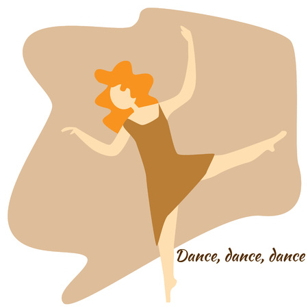 Dancing girl. Flat colored vector illustration Illustration