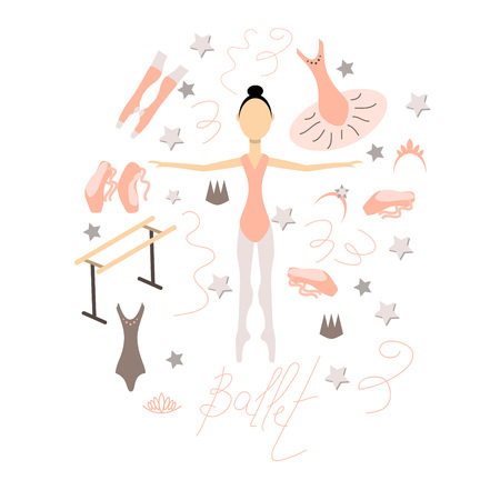 A set of items on the theme of ballet. Flat colored vector illustration