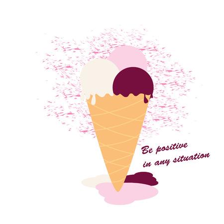 Ice cream that melts. Be positive. Flat colored vector illustration. Ilustração