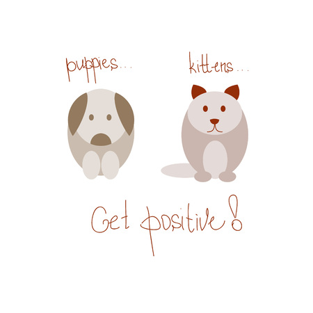 Cat and dog on the positive solated on white background. Positive thinking, think positive. Flat colored vector illustration