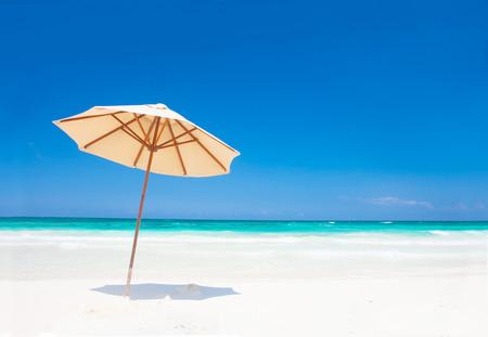 Umbrella on perfect caribbean beach in Tulum, Mexico