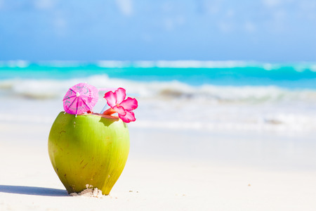 two fresh coconut cocktail on tropical beach with flower