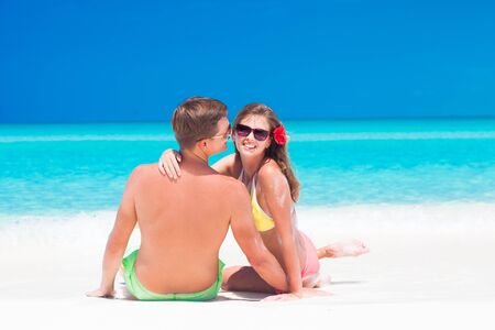 happy couple: remote tropical beaches and countries. travel concept
