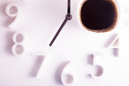 seven o'clock: early morning breakfast coffee concept