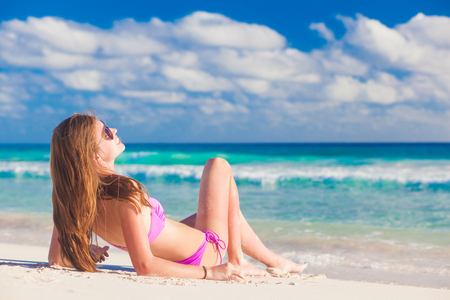hot bikini: remote tropical beaches and countries. travel concept