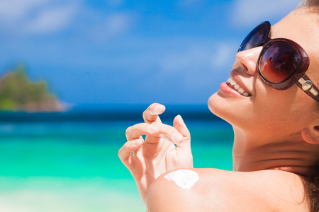 suncare: remote tropical beaches and countries. travel concept