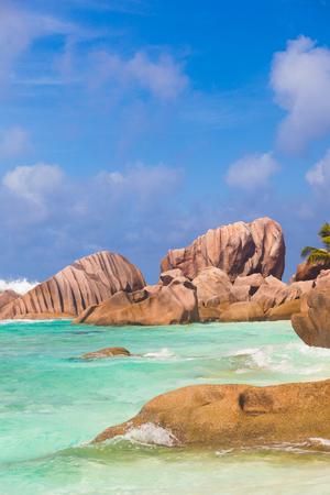 la digue: stunning view of idyllic Petite Anse beach at La Digue, Seychelles Stock Photo
