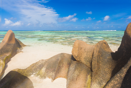 stunning view of idyllic Anse Source dArgent beach at La Digue, Seychelles
