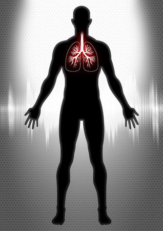 cough: A silhouette of man figure with lung illustration and heartbeat graphic