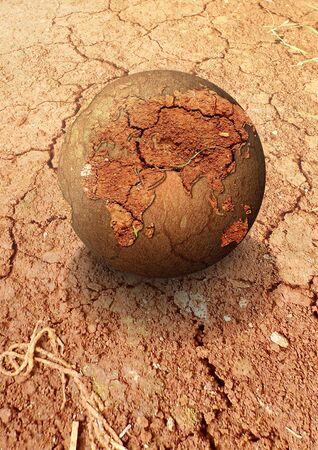 A globe on a deserts photo