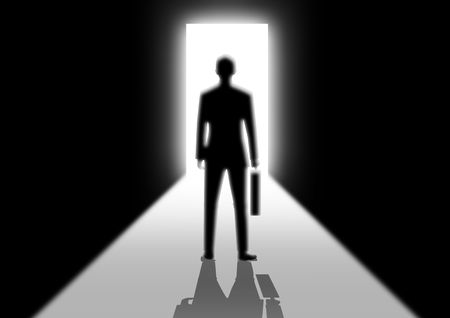 Stock image of a man walking into a bright door photo