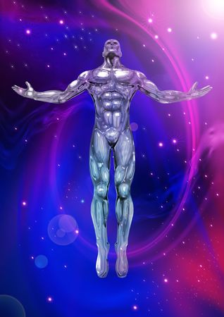 An illustration of a chrome man figure on a cosmic background illustration