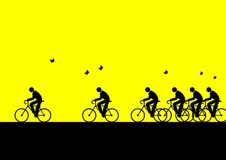 Iconic figures cycling to go to work Stock Photo - 7715636