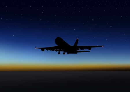 airplane take off: Stock illustration of an airplane flying at night