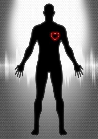 medical scans: Silhouette of man figure with heart symbol