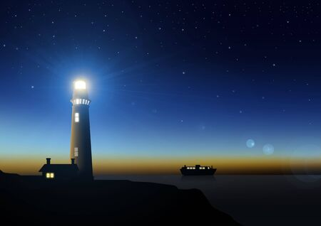night view: Stock illustration of a lighthouse  Stock Photo