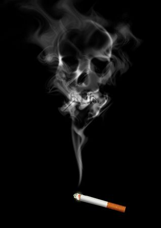black smoke: Illustration of skull shaped smoke comes out from cigarette