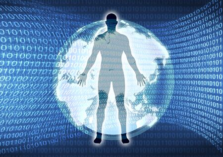 Silhouette of man figure with binary numbers and earth background  photo