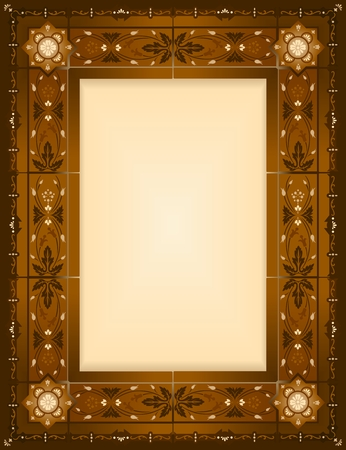 brownish: A brownish frame in vintage style with plants ornament  Illustration