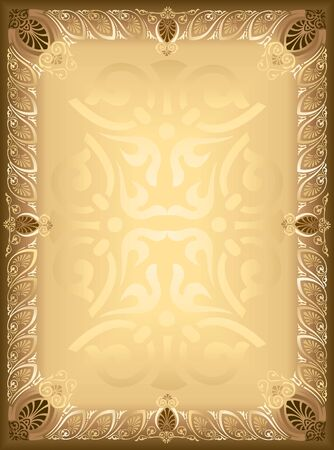 A blank brownish frame in vintage style with ornament  Vector