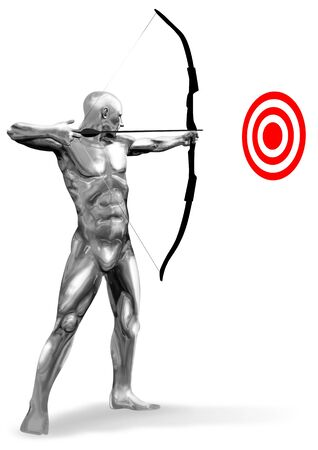 the archer: An illustration of chrome man figure aiming a target