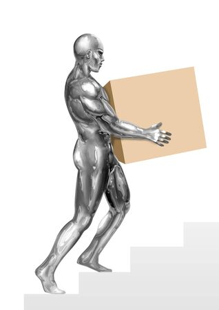 chrome man: An illustration of chrome man figure carrying a box