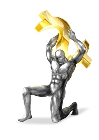 chrome man: An illustration of chrome man figure are shouldering the dollar symbol  Stock Photo