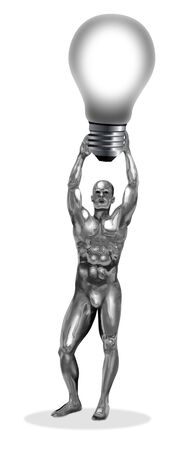 An illustration of a chrome man holding a bulb  illustration