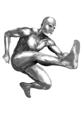 chrome man: An illustration of chrome man figure are jumping