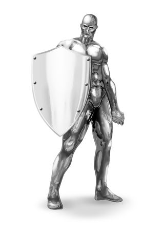 protector: An illustration of chrome man figure with shield
