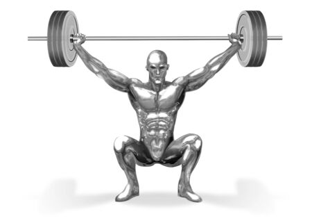 levantamiento de pesas: Una ilustraci�n de la figura de hombre de cromo son el levantamiento de pesas