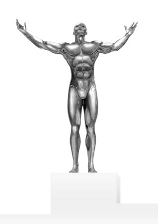 chrome: An illustration of a chrome man figure on a stage victories