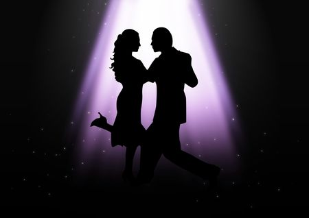 ballroom dance: Silhouette illustration of a couple dancing under the light